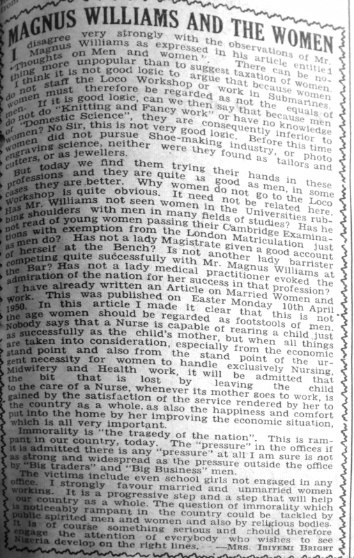 "Mrs Ibiyemi Bright. ""Magnus Williams and the Women."" Daily Times, May 22, 1950, sec. ""Saturday Supplement- Our Women's Page"" (p. 1)."