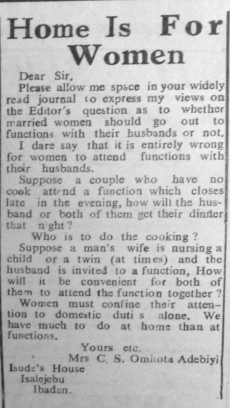 "Mrs C.S. Omitota Adebiyi. ""Home Is for Women."" Nigerian Tribune. Week-End Supplement, November 18, 1950, sec. ""For Women Only. Women, This Page Is Yours: Use it"" (p. 6)."