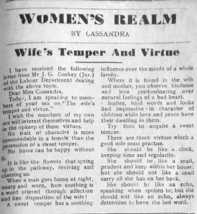 "Mr J.K. Cookery. ""Wives' Temper and Virtues."" Southern Nigerian Defender, September 26, 1946, sec. ""Women's Realm"" (p. 3)."