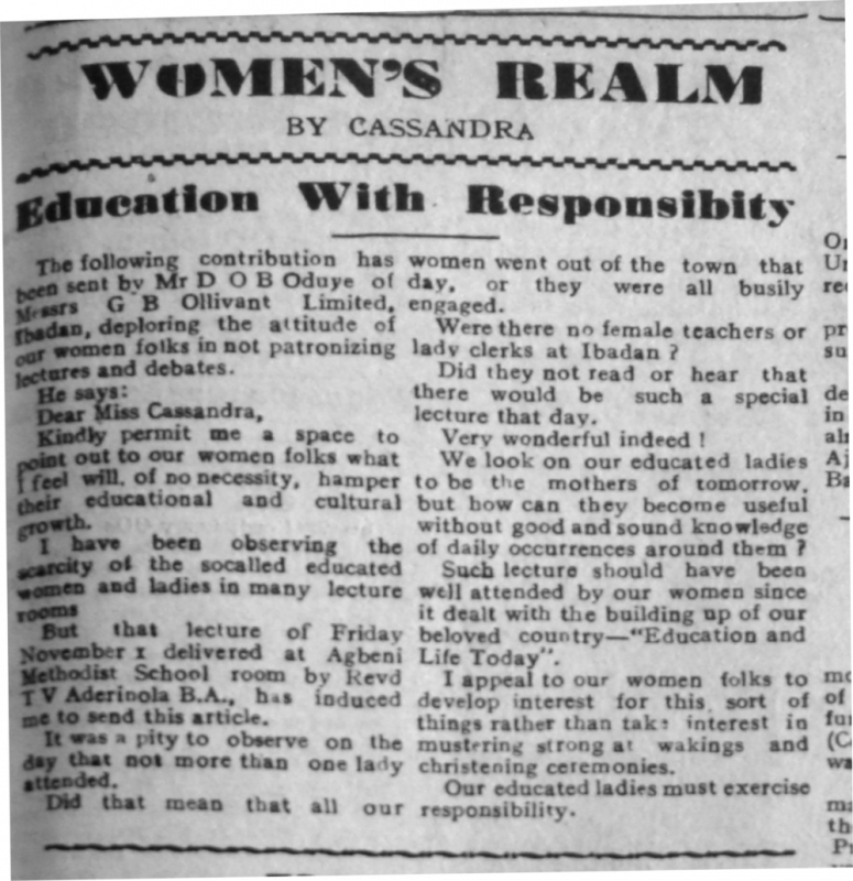 "Mr D.O.B. Odubuye (of the GB Ollivant Limited, Ibadan). ""Education with Responsibity [sic]."" Southern Nigerian Defender, December 13, 1946, sec. 'Women's Realm' (p. 3)."