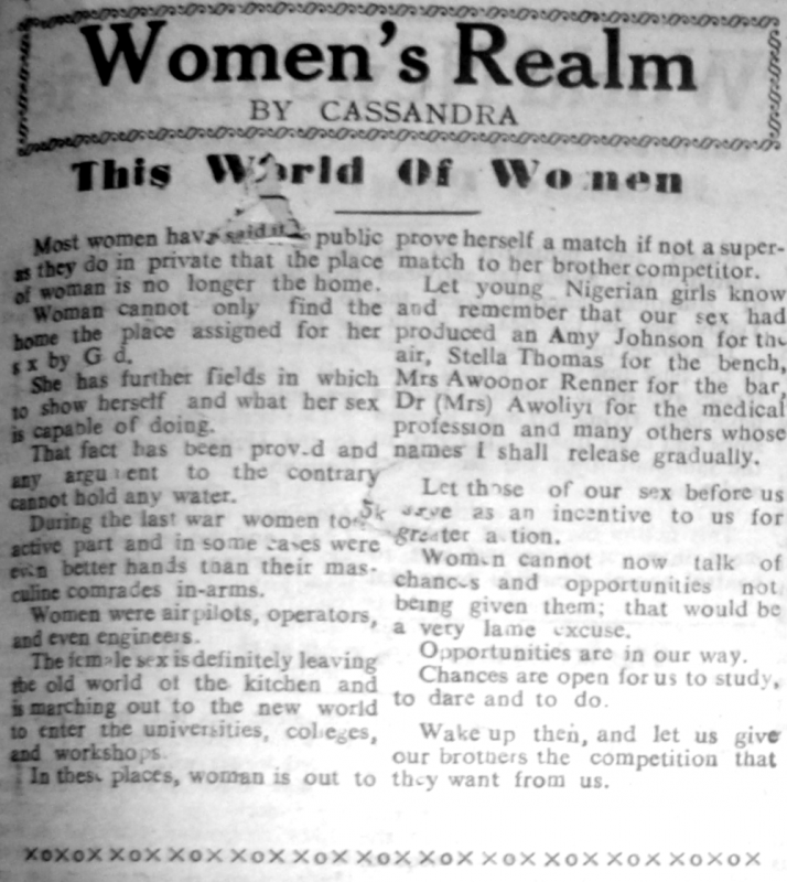 "Cassandra. ""This World of Women."" Southern Nigerian Defender, February 6, 1948, sec. ""Women's Realm"" (p. 3)."