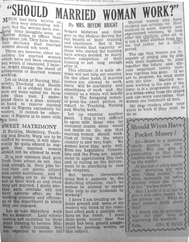 "Mrs Ibiyemi Bright. ""Should Married Woman Work?"" Daily Times, April 10, 1950, sec. ""Our Women's Page"" (p. 5)."