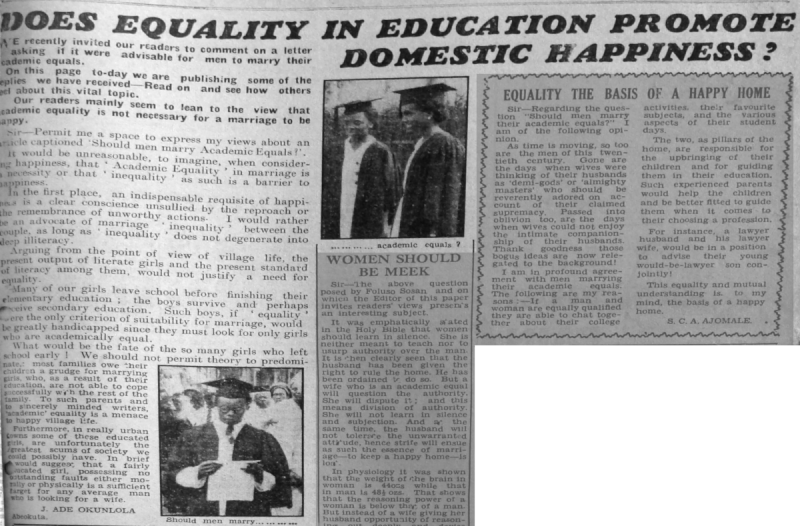 "J. Ade Oguntola. ""Does Equality in Education Promote Domestic Happiness?"" Daily Times, May 6, 1950, sec. ""Saturday Supplement - Our Women's Page"" (p. 1)."