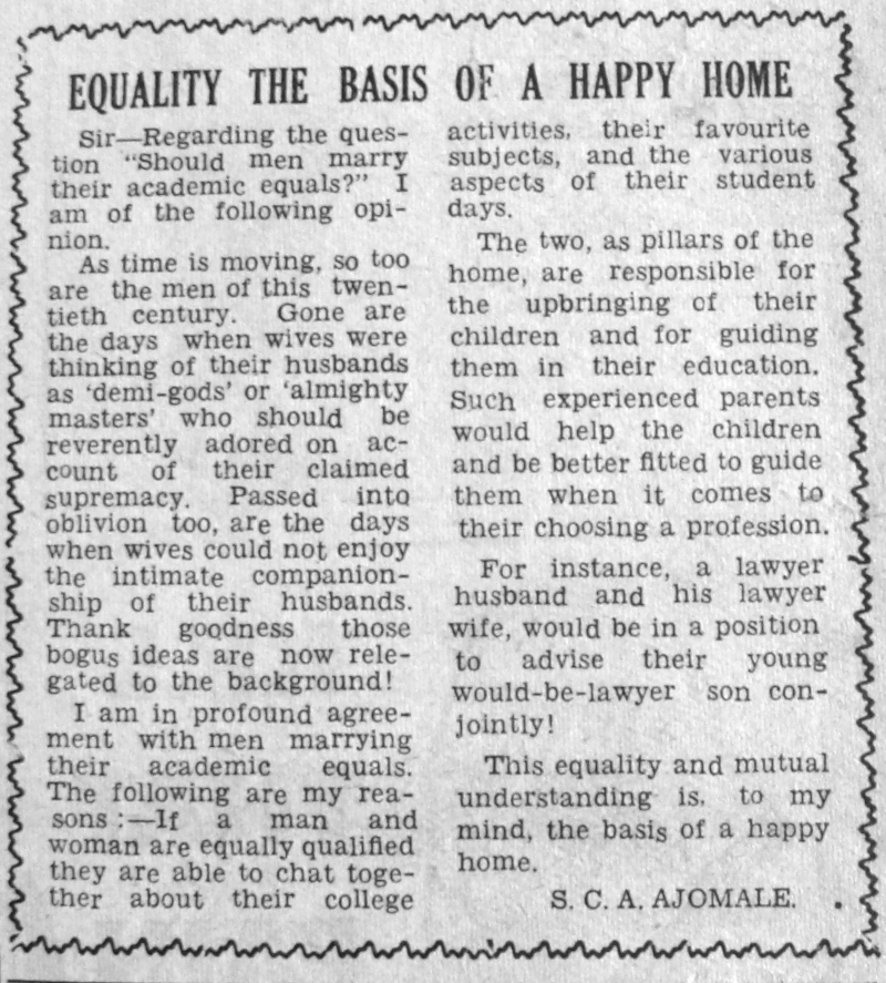 "S.C.A. Ajomale. ""Equality the Basis of a Happy Home."" Daily Times, May 6, 1950, sec. ""Saturday Supplement - Our Women's Page"" (p. 1)."