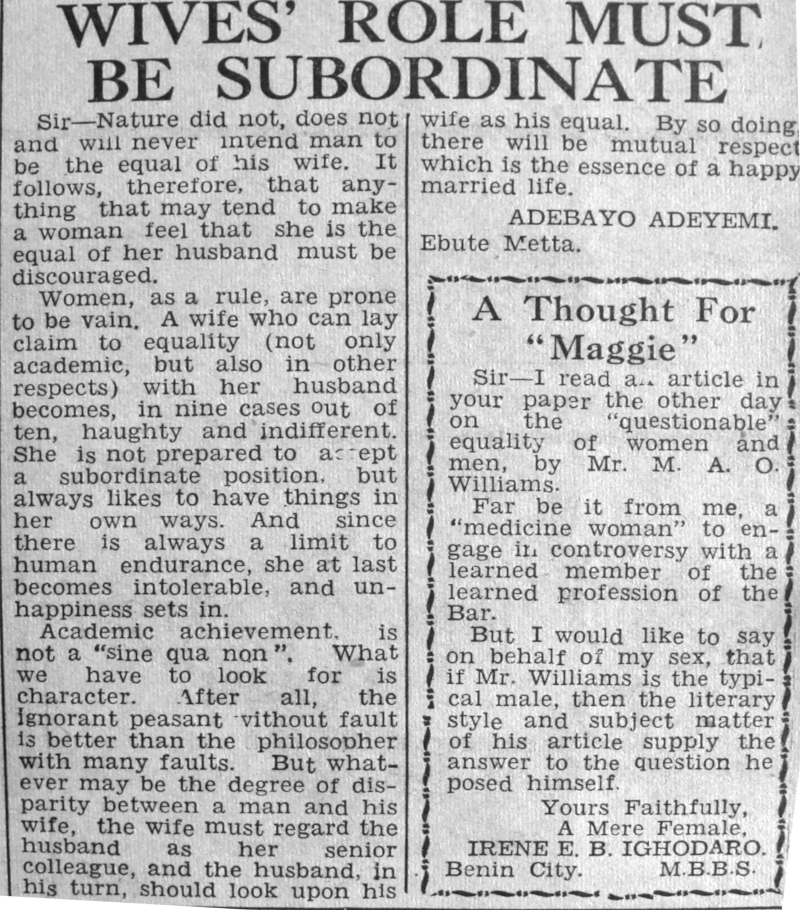 "Mr Adebayo Adeyemi. ""Wive's Role Must Be Subordinate."" Daily Times, May 15, 1950, sec. ""Our Women Page"" (p. 5)."